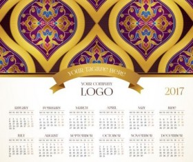 2017 calendars with floral decor pattern vector 09
