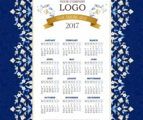 2017 calendars with flower vector