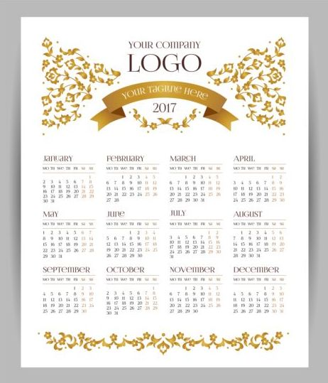 2017 company calendars template vector 01