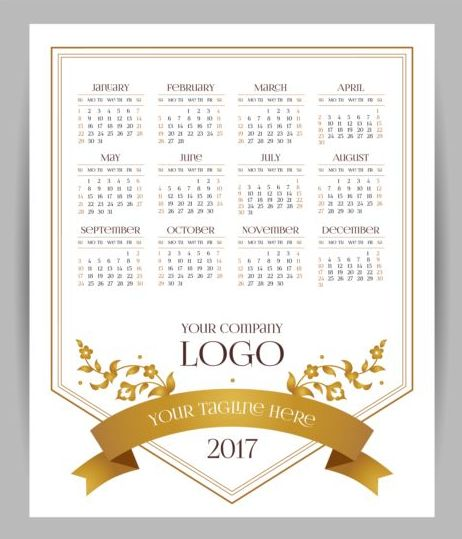 2017 company calendars template vector 03