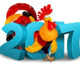 3d 2017 new year with reooster vector material 02