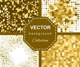 Abstract gold backgroun art vector set 01