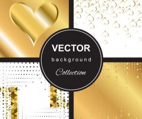 Abstract gold backgroun art vector set 02