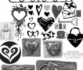 Assorted heart PS brushes