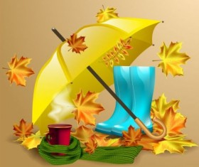 Autumn leaves with boots and umbrella vector 01