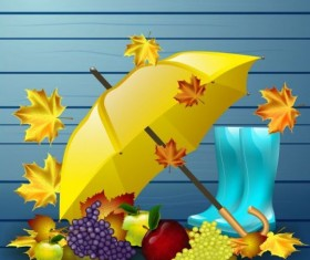 Autumn leaves with boots and umbrella vector 02