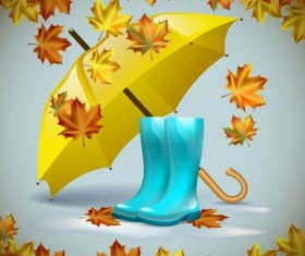 Autumn leaves with boots and umbrella vector 03