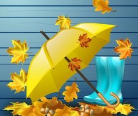Autumn leaves with boots and umbrella vector 04