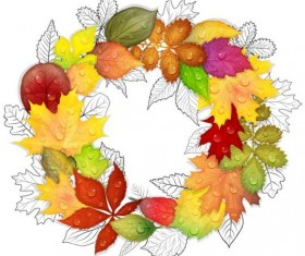 Autumn leaves with outline frame vecto