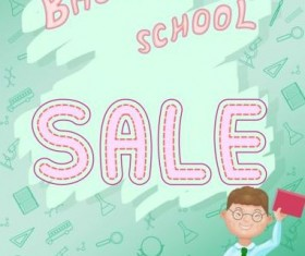 Back to school and sale background vector design 05