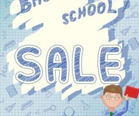 Back to school and sale background vector design 06