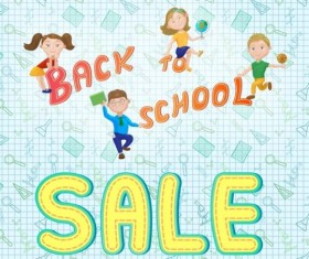 Back to school and sale background vector design 07