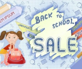 Back to school and sale background vector design 08