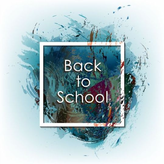 Back to school grunge background with frame vector 04