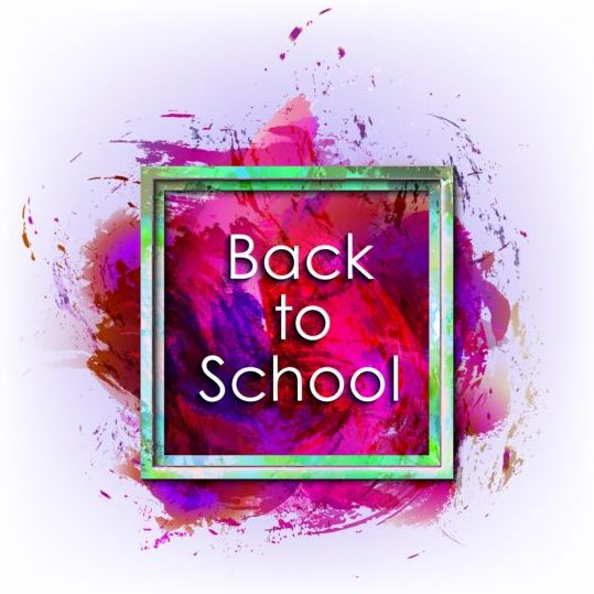 Back to school grunge background with frame vector 07