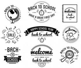 Back to school labels retro vector 01