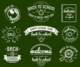 Back to school labels retro vector 02
