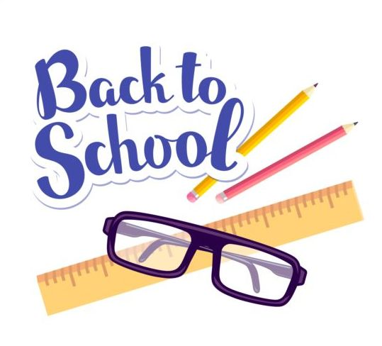 Back to school sticker with stationery vector 02