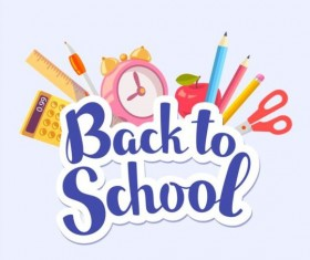 Back to school sticker with stationery vector 03