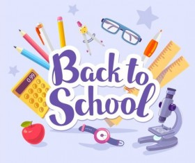 Back to school sticker with stationery vector 04