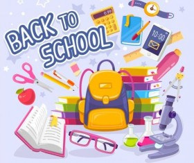 Back to school sticker with stationery vector 05