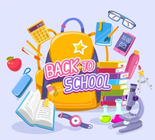 Back to school with school things vector material 01