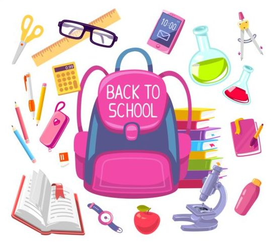 Back to school with school things vector material 02