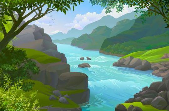 beautiful jungle landscape vector graphics 08 free download