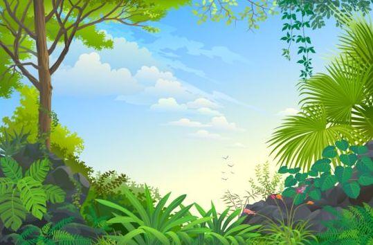Landscape Illustration Vector Free: Beautiful Jungle Landscape Vector Graphics 09 Free Download