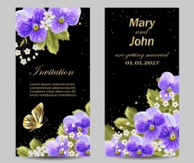 Beautiful flower with wedding invitation card vector 01