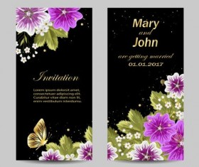 Beautiful flower with wedding invitation card vector 03