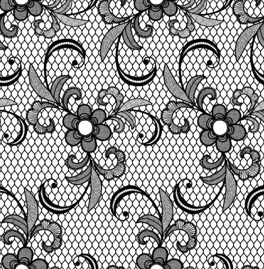 Beautiful lace black pattern vector 01