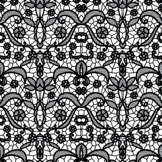 Beautiful lace black pattern vector 03