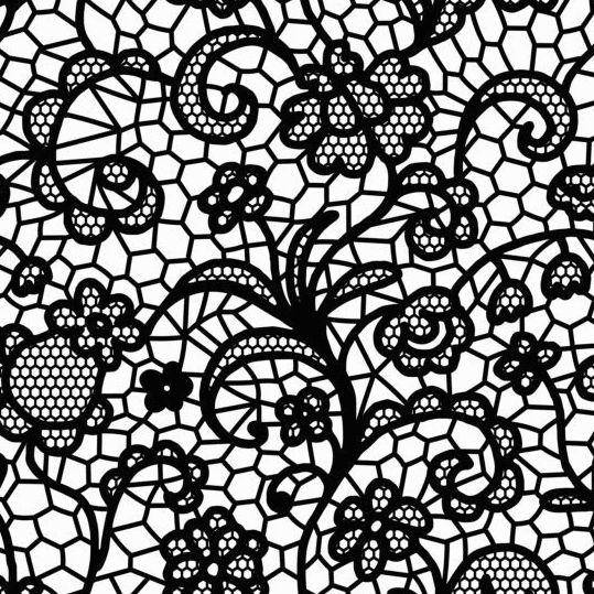 Beautiful lace black pattern vector 08