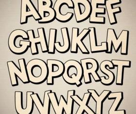 Beige 3D alphabet vector