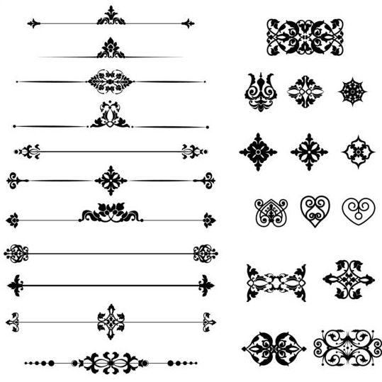 Black Calligraphic Ornaments Vector Vector Ornament Free
