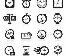 Black clock icons vector set