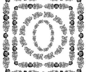 Black flower frame vectors