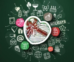Blackboard background with hand drawn holiday vector