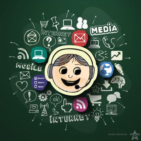 Blackboard background with internet media vector 02