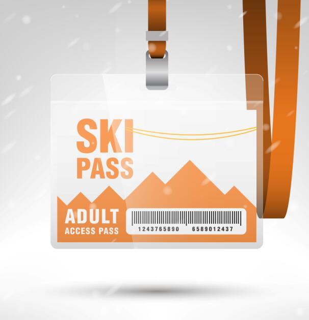 Blank SKI access pass template vector 06 Free Vector free download – Free Pass Template