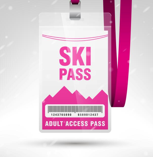 Blank SKI access pass template vector 10 Vector Cover free download – Free Pass Template