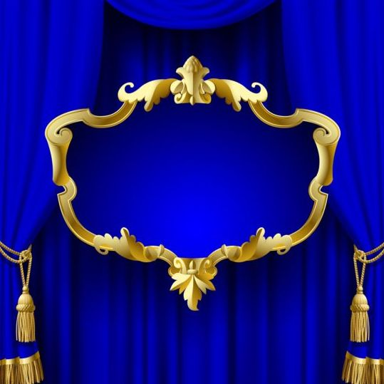 Blue Curtain With Golden Frame Vector Frames