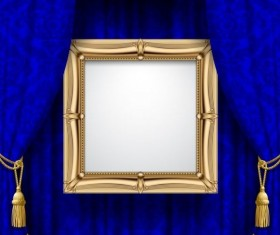 Blue curtain with photo frame vector
