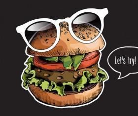 Burger color bright glasses vector 01