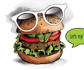 Burger color bright glasses vector 02