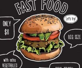 Burger color bright menu vector
