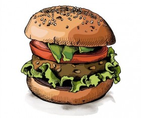 Burger colored hand drawn vector