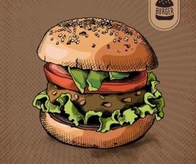 Burger colored poster vectors