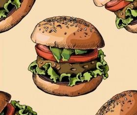 Burger pattern seamless vector 01